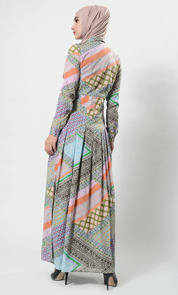 Match the rest printed abaya