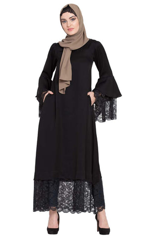 Bell Sleeve lace at bottom and Sleeve fancy Abaya -Final Sale