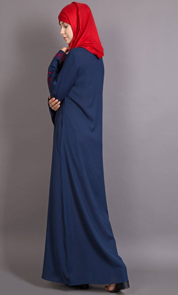 Embroidered Butterfly Sleeve Party Abaya-Final sale