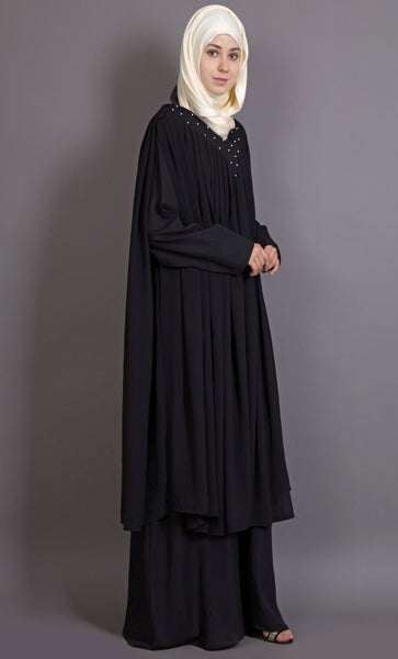 Embroidered neck band double layer Party Abaya-Final sale