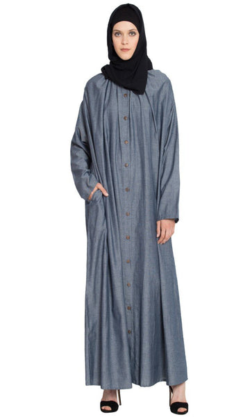 Front open gather around neck Cotton Bohemian Abaya-Final sale