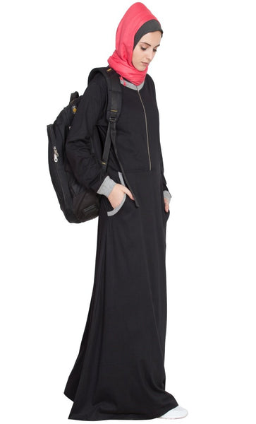 Front closer contrast band cuff Travel Abaya-Final sale