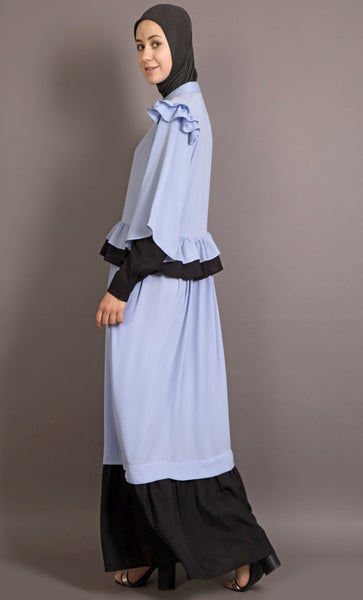 Contrast frilled funky Abaya-Final sale