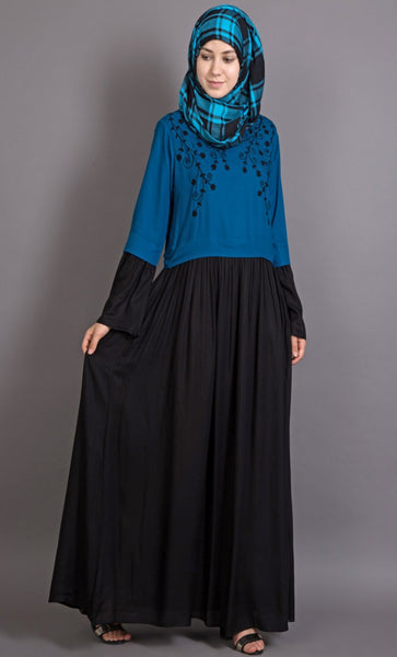 Hand Embroidered Party Viscose crepe Abaya-Final sale