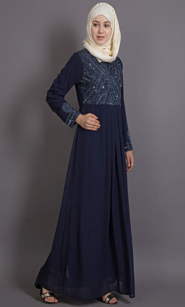 Embellished Party wear Navy Abaya-Final sale