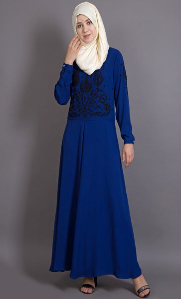 Embroidered party wear abaya gown-Final sale
