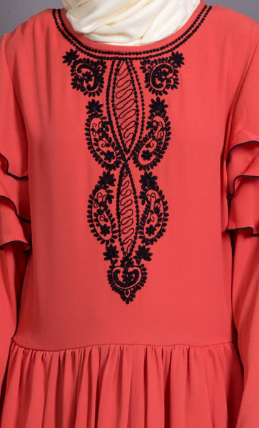 Embroidered frill party Abaya dress-Final sale
