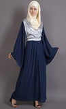 Contrast Patchwork Detail Bell Sleeves Bohemian Abaya Dress