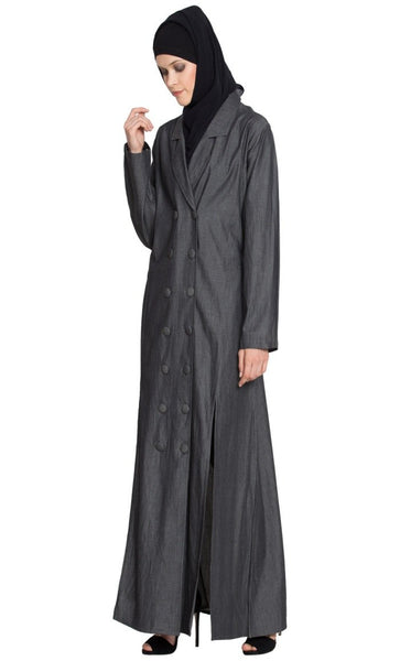 Front two Slit  Denim front open Casual abaya dress-Final sale