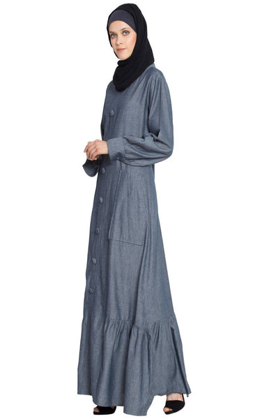 Frill Bottom patch pocket A line Abaya-Final sale