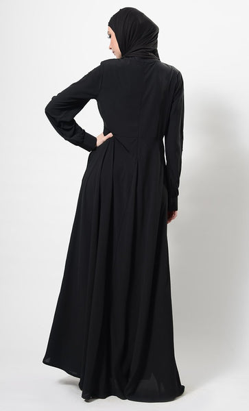Embroidered patched black abaya + Free Hijab