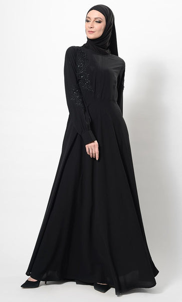 Floral Embroidered Patchwork Flared Abaya Dress And Hijab Set