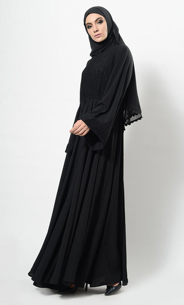 Lace Panel Flared Abaya Dress And Hijab Set