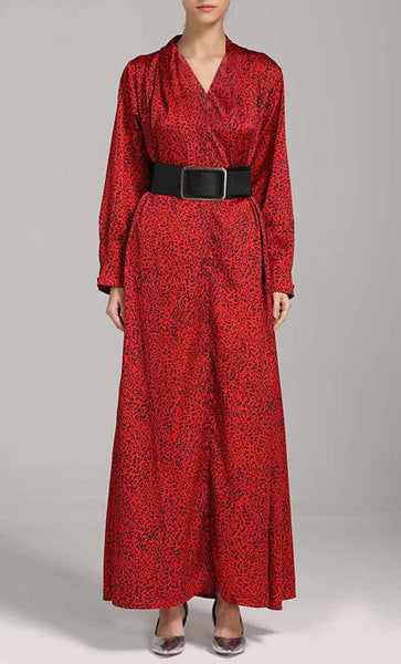 Overall Printed Abaya Dress (Red) *Size Up*