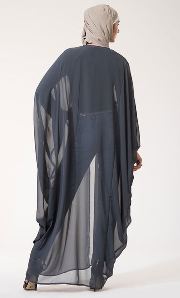 Georgette One button closure Cape Shrug-Final Sale