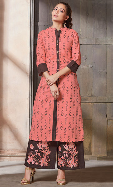 Pink Cotton Printed Kurti-Final Sale