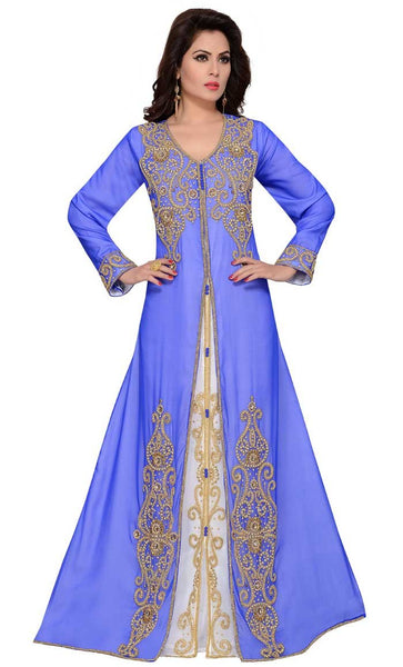 Heavy embroidered A-line kaftan dress dubai gulf style-Blue-Final sale