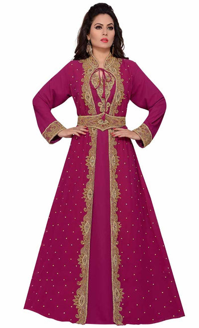 Women's Party kaftan abaya for muslim with hand lace-final sale