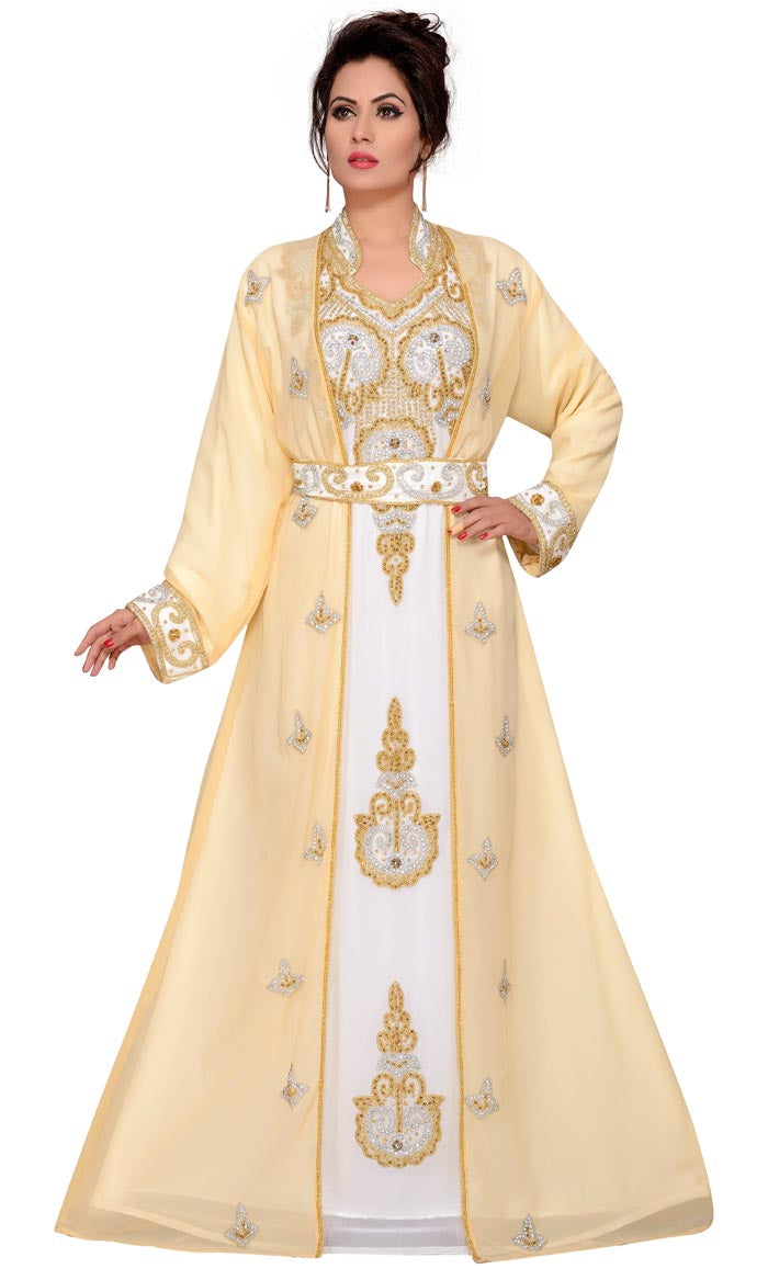 940b4563ecd Women's hand bead Kaftan Long Sleeve Maxi Dress, designer look Chiffon