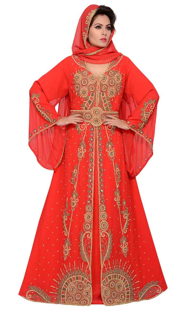 94a143a1b3 Women's red wedding long kaftan dress with bell sleeve in full hand  embroidery-final sale