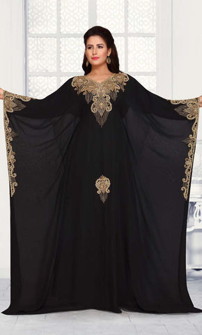 Black abaya with gold embroidery-Final sale