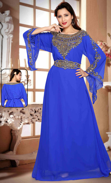 A Line Kaftan With Waist Belt Blue - Final Sale