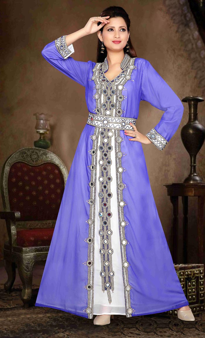 1c9db5a1f5 Stand Collar Moroccan caftan with golden work Eid Collection-Final Sale