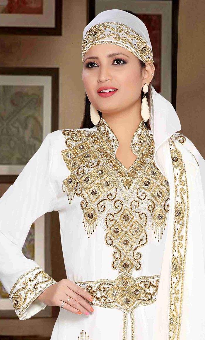 4fbd9502a2 Stand Collar caftan with golden work - White - Final Sale