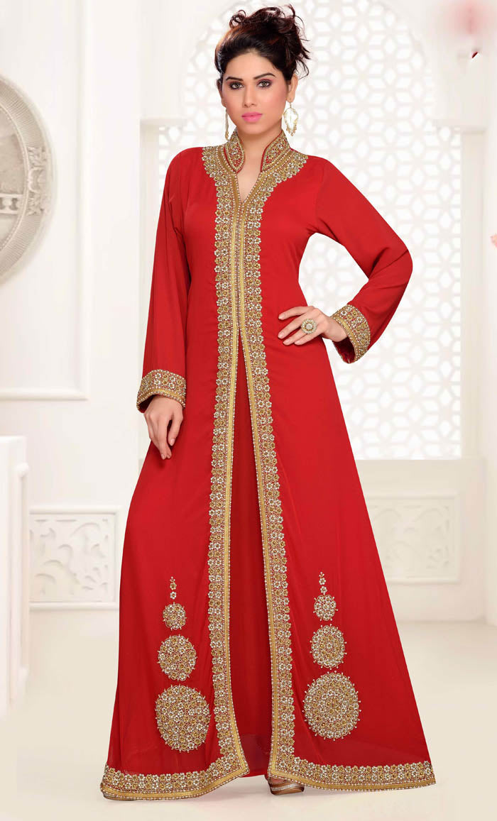 ef60028092 Stand Collar caftan with golden work - Maroon - Final Sale