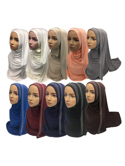 Set Of 10 Rhinestones And Crystal Embellished Women'S Hijab Stoles