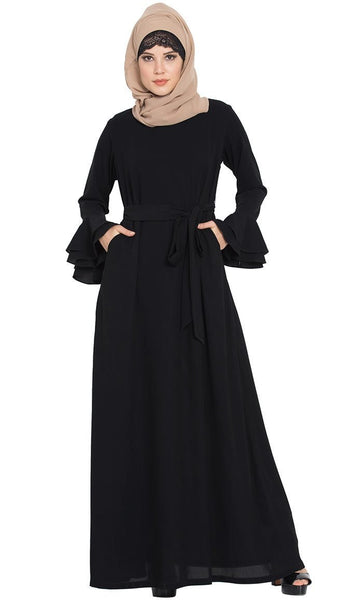 Abaya Dress with Bell Sleeves and Matching Belt-Black-Final sale - EastEssence.com