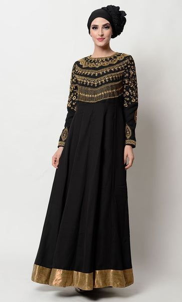 All over neckline embroidered Silk abaya - EastEssence.com