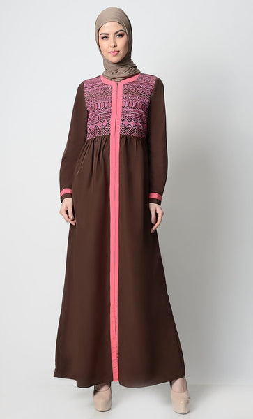 Ancient Motif Embroidered Abaya-Brown - EastEssence.com