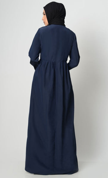 Ancient Motif Embroidered Abaya-Navy - EastEssence.com