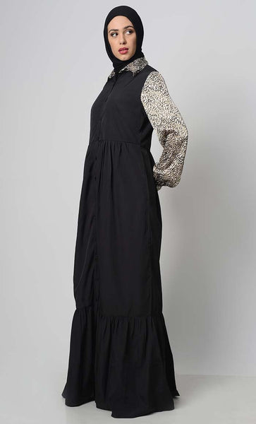 Animal Print Mix Abaya - EastEssence.com