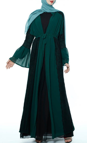 Applique Laced Trendy Shrug - Dark Green - *Size Up* - EastEssence.com