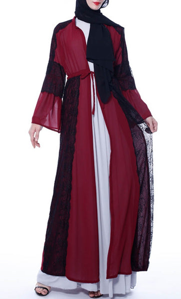 Applique Laced Trendy Shrug - Dark Red - *Size Up* - EastEssence.com