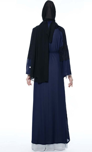 Applique Laced Trendy Shrug - Navy Blue - *Size Up* - EastEssence.com