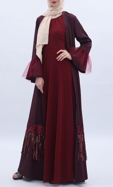 Applique Sequin Lace Trendy Shrug - Dark Red - *Size Up* - EastEssence.com