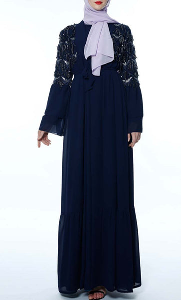 Applique Sequin Lace Trendy Shrug - Navy - *Size Up* - EastEssence.com