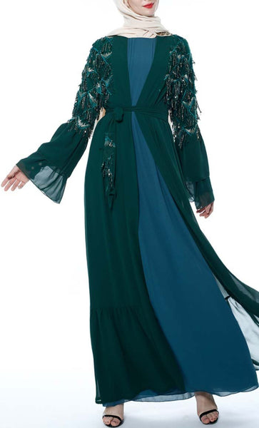 Applique Sequin Lace Trendy Shrug - Teal - *Size Up* - EastEssence.com