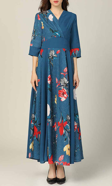 Aqua Garden Printed Abaya Dress (Multicolor) *Size Up* - EastEssence.com