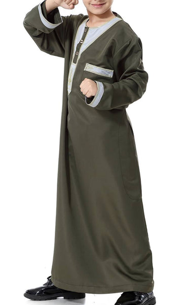 Arab Style Full Sleeves Boys Thobe (Army Green)-*Size Up* - EastEssence.com