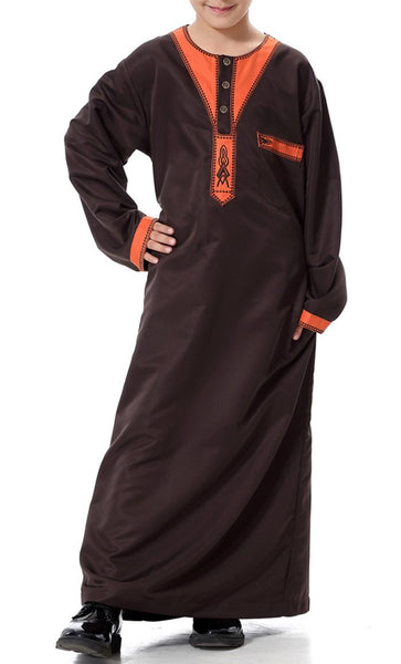 Arab Style Full Sleeves Boys Thobe (Coffee)-*Size Up* - EastEssence.com