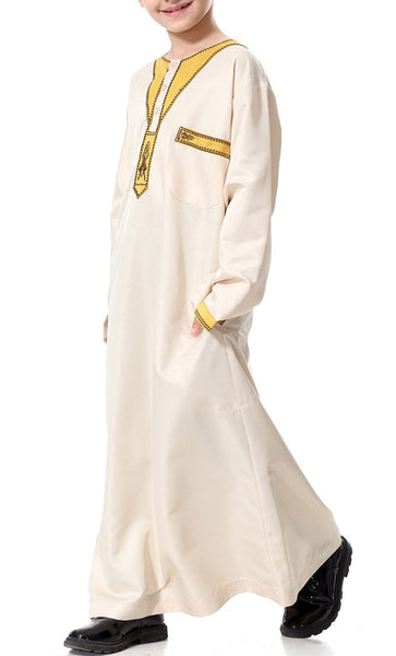 Arab Style Full Sleeves Boys Thobe (Pale Yellow)-*Size Up* - EastEssence.com