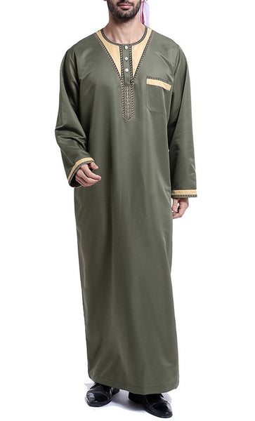 Arab Style Full Sleeves Men's Thobe (Army Green)-*Size Up* - EastEssence.com