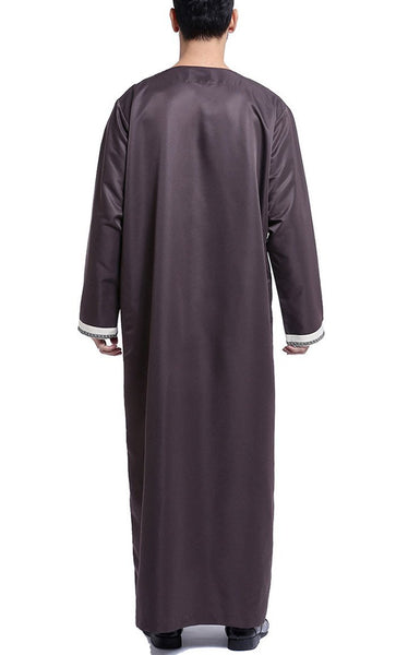 Arab Style Full Sleeves Men's Thobe (Coffee)-*Size Up* - EastEssence.com