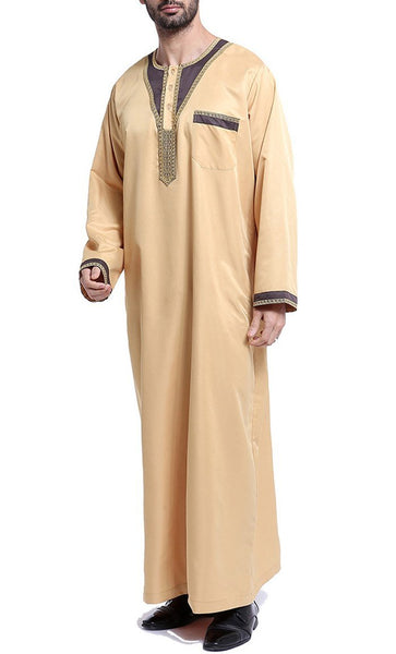 Arab Style Full Sleeves Men's Thobe (Light Yellow)-*Size Up* - EastEssence.com