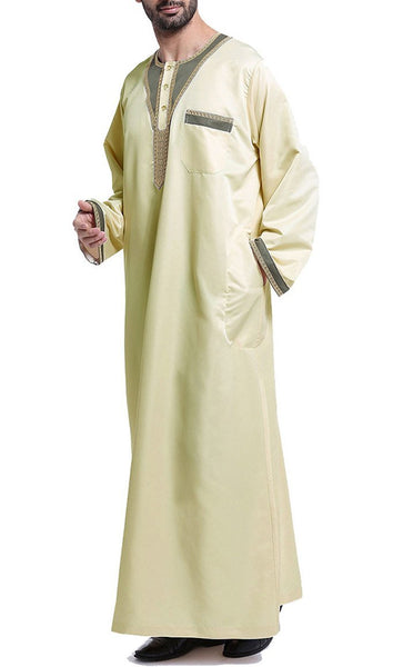 Arab Style Full Sleeves Men's Thobe (Pale Yellow)-*Size Up* - EastEssence.com