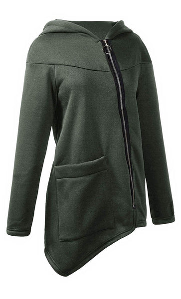 Assymetric Hem Front Zipper Jacket - Army Green - *Size Up* - EastEssence.com